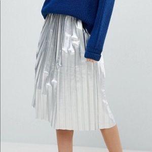 NWT ASOS Metallic Pleated Midi Skirt in Silver